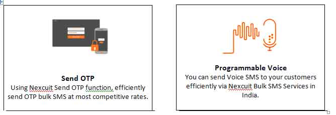 Using Nexcuit Send OTP function, efficiently send OTP bulk SMS at most competitive rates