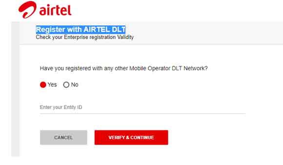 Register with AIRTEL DLT
