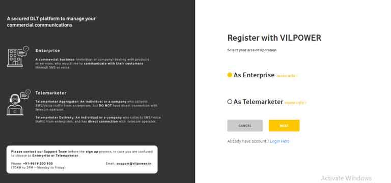 vodafone DLT registration for free