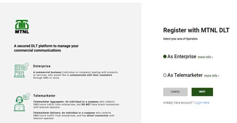 register with mtnl DLT KYC Document Type