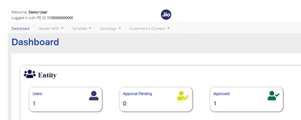 After logging to Jio DLT, you are going to get the following dashboard webpage.